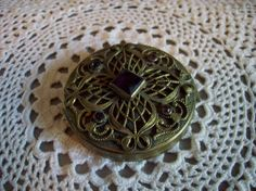 Vintage Compact Ornate Design Amethysts stones Powder /Mirror/ Vanity/Purple Stones by kd15 on Etsy