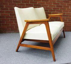 Gunlocke Mid Century Modern sofa mid century lounge two seat Danish modern sofa on Etsy, $350.00