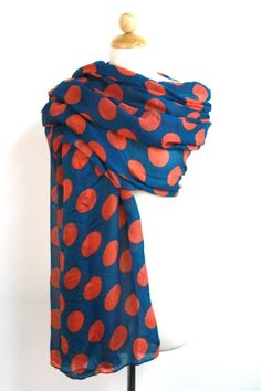 ****ALL SALES ARE FINAL. *****NO REFUND. NO EXCHANGE. Lightweight polka dot print scarf. Gauze material. Approx. length 64 in.