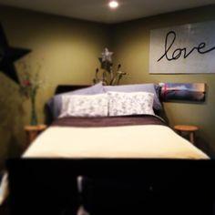 Bedroom like the green walls