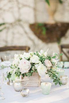 Rustic-pretty floral centerpiece: http://www.stylemepretty.com/little-black-book-blog/2016/02/18/rustic-romantic-wedding-at-the-villa-san-juan-capistrano/ | Photography: Koman Photography - http://komanphotography.com/