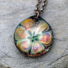 Glass Flower Pendant Borosilicate Boro Lampwork Rainbow by Venbead