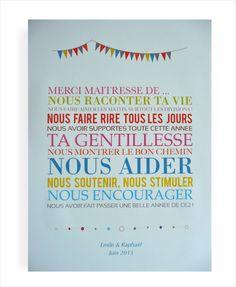 "#memobaby ""Merci, maîtresse"" pour un élève de CE2. Diy Cadeau Maitresse, Diy For Kids, Crafts For Kids, Employee Gifts, End Of Year, Learn French, Silhouette Portrait, Teacher Appreciation, Homemade Gifts"