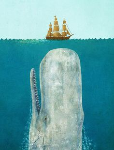 """There are apparently a lot of """"huge whale and tiny boat"""" images floating around   The Whale by Terry Fan"""