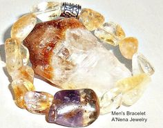 """Men's Bracelet Genuine Citrine and Amethyst by ANenaJewelry, $52.9915th Centrury Machu Picchu Inspired Men's Bracelet """"Abundance and Prosperity"""" is made from Genuine Citrine and Amethyst. It reminds me that no one can destroy me with the words they say and actions they do and I consciously make the choice not to give my power away to anything or any one. Abundance and Prosperity are my birthright and with focused energy and actions I will have both."""