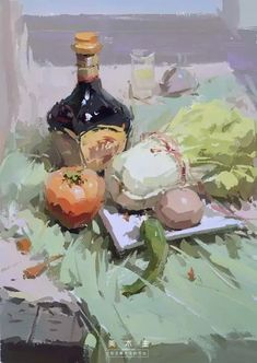 Vegetable still life painting for kitchen Painting Still Life, Still Life Art, Gouache Painting, Painting & Drawing, Guache, Impressionist Art, Gif Animé, Traditional Paintings, Beautiful Paintings