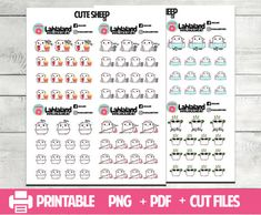 Cute Sheep Printable Planner Stickers Functional Deco