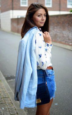 Street style - @River Island print shirt, Whistles denim shorts, Zara blazer Fashion Blogger - Emma Hill - EJStyle