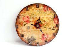Decoupage wooden wall clock gift idea patinated by MKedraHandmade