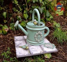 {Stunning cake with 2 perfect gumpaste birds and a vintage watering can!}