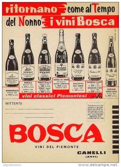 # VINI BOSCA - Asti 1950s Advert Pubblicità Publicitè Reklame Food Drink Vino Wine Vin Wein Vinho - Manifesti