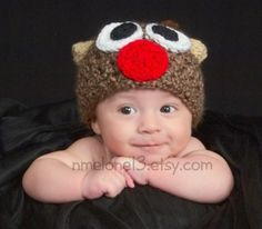 Rudolph The Red Nose Handmade crochet Hat  newborn by NattyHatty, $20.99