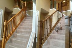 Typical production home knee-wall railing updated with iron balusters and box newels.