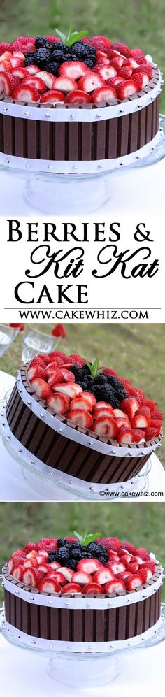 This cake is a SHOW-STOPPER! It's a chocolate cake, covered in luscious frosting, surrounded by Kit Kats and topped off with mixed berries! From cakewhiz.com