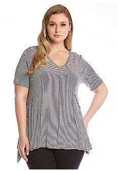 Karen Kane Plus Size Stripe Top #Karen_Kane #Plus #Size #Black_and_White #Stripe #Top #Plus_Size #Fashion #Belk