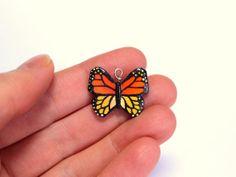 Monarch Butterfly Charm Polymer Clay Butterfly by HeyBernadette