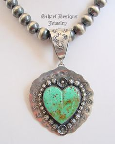 Schaef Designs Kingman Turquoise & Sterling Silver Large Heart Pendant | Collectible Native American Turquoise online Jewelry gallery | Schaef Designs Collectible artisan handcrafted Southwestern & Equine Jewelry | New Mexico