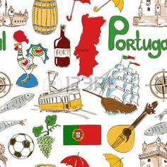 Fun colorful sketch Portugal seamless pattern photo
