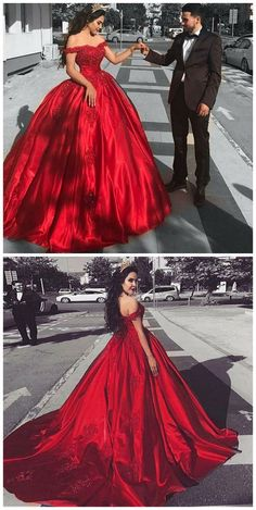 Ball Gown Off the Shoulder Court Train Red Satin Prom Dress with Lace, unique red ball gown prom dresses, elegant off the shoulder evening dresses Red Satin Prom Dress, Prom Dress With Train, The Dress, Dress Prom, Gown Dress, Pretty Quinceanera Dresses, Red Wedding Dresses, Quinceanera Ideas, Winter Formal Dresses