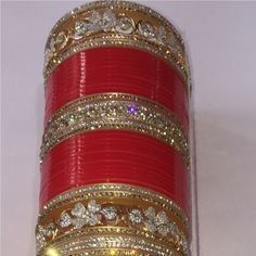 Bridal & Wedding Party Jewelry Active Chura Bangle Set 2.8 Red Maroon Rhinstone Bridal Dulhan Punjabi Wedding Party