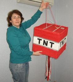 Minecraft TNT explosive pinata. Square pinata, each side of the square is 40 cm.