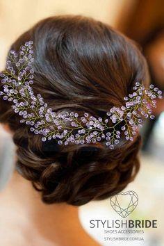 Веточка свадебная розовая удлиненная розовая от StylishBrideShoes