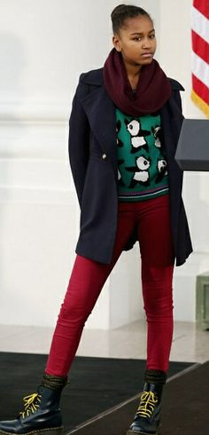 Christmas at the White House.Sasha Obama