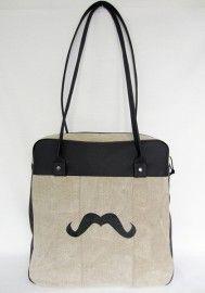 Mustache. Handmade bag