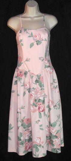 Vintage sz 8 sun dress SUNSHINE STARSHINE Boned Drop Waist CABBAGE ROSE Sundress #SUNSHINESTARSHINE #Sundress