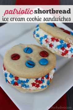How perfect are these Patriotic Ice Cream Cookie Sandwiches for Memorial Day and July 4th? These are made with shortbread (rather than sugar cookies)!