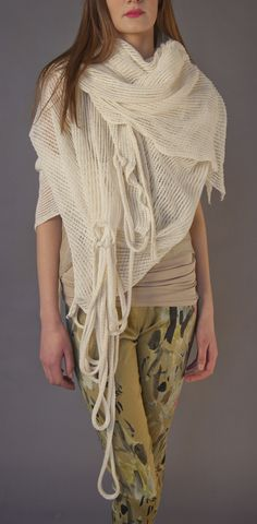 Oversized off white knit linen scarf  http://www.jas-shop.com/product/rope-scarf