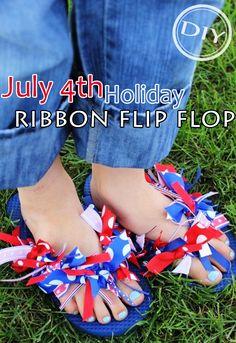 DIY July 4th Holiday Ribbon Flip Flop – Top Easy Patriotic & Spring Design Project - Easy Idea (2)