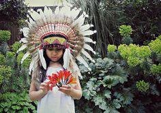 Little girl, indian headdress, feather hat, cowboys, indians, photoshoot, dream catcher, tropical plants, flowers, gardens
