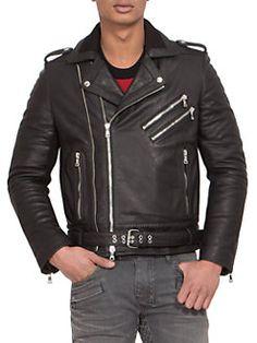 Balmain - Leather Zip Biker Jacket