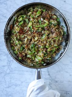 bacon brussels sprouts fried rice I howsweeteats.com