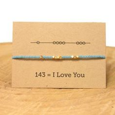 I Love You 143 Friendship Bracelet - Blue – Sunday Girl by Amy DiLamarra Maybe with Morris code instead Jewelry Crafts, Jewelry Bracelets, Handmade Jewelry, Jewellery, Silver Bracelets, Cute Gifts, Diy Gifts, Morse Code Words, Purple Pendants