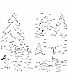 bunnies and deer in forest - Dot to Dot coloring page - 120 dots