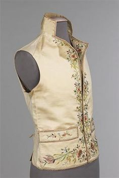 French Mens Silk, Linen, metal, cotton vest.   1800-1815