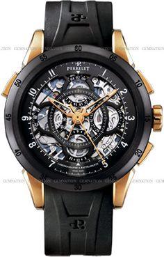 Perrelet Louis-Frederic Split-Second Chronograph Rattrapante Mens Wristwatch Black M#4730