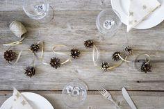 Tee itse kauniit joulukoristeet: Simppeli käpynauha   K-ruoka #joulu White Christmas, Stud Earrings, Handmade, Jewelry, Decor, Magic, Winter, Winter Time, Hand Made