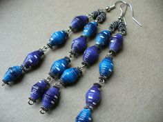 Purple and Blue - paper bead earrings