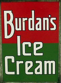 Green and red sign for Burdan's Ice Cream.