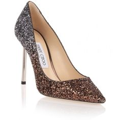 Jimmy Choo Romy 100 bronze course glitter pump ($675) ❤ liked on Polyvore featuring shoes, pumps, brown, pointed toe high heel pumps, glitter shoes, glitter pumps, bronze pumps and pointy toe pumps