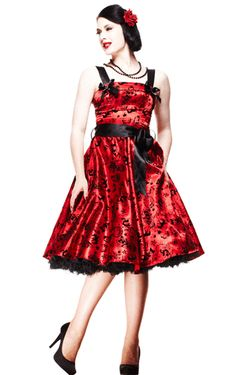 Hell Bunny Flocked Tattoo Dress - I wore this at Christmas with red shoes and it felt so feminine #hellbunny #vintagerepro #beautiful