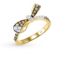 Кольцо, вставка:  фианит; фианит жёлтый; Серебро 925 пробы. 23911