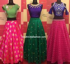 Designer Long Skirts and Crop Tops by Ashwini Reddy – South India Fashion Half Saree Designs, Lehenga Designs, Salwar Designs, Indian Gowns Dresses, Indian Outfits, Indian Clothes, Ethnic Outfits, Crop Top Designs, Blouse Designs