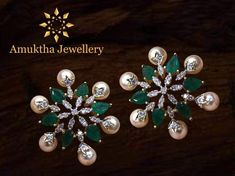 Ideas Jewerly Collection Gold Indian - New Ideas Gold Earrings Designs, Gold Jewellery Design, Designer Jewellery, Bead Jewellery, Jewellery Shops, Handmade Jewellery, Necklace Designs, Beaded Jewelry, Emerald Jewelry