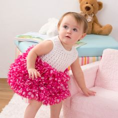 Red Heart Soft Baby Steps Boutique Sassy Fabric Party Dress #crochet #pattern