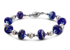 Cobalt Blue Lampwork Handmade Bracelet