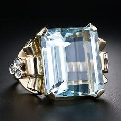 Retro Aquamarine and Diamond Ring - 30-1-4897 - Lang Antiques